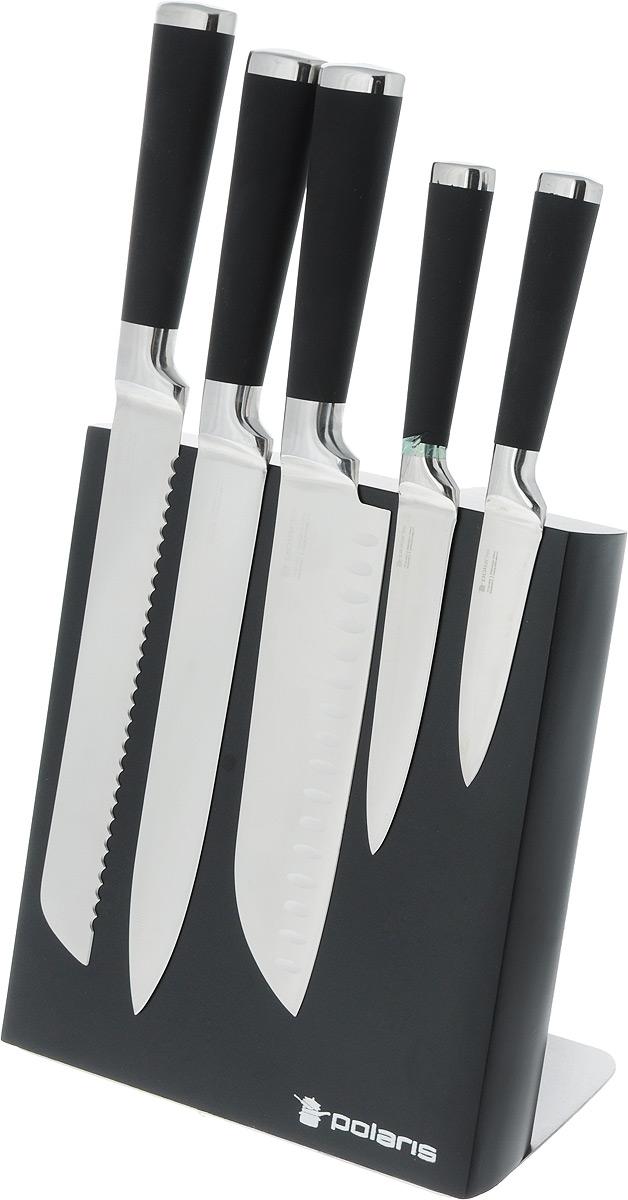"""Набор """"Polaris"""" включает в себя: поварской нож, хлебный нож, разделочный нож,  универсальный нож, нож для чистки и резки и подставку. Лезвия ножей  выполнены из немецкой нержавеющей стали с двусторонней заточкой. Рукоятки  ножей, выполненные из черного пластика с эффектом Soft-touch, обеспечивают  комфортный и легко контролируемый захват.  Ножи устойчивы к коррозии и ржавчине, не выцветают и не теряют свой  внешний вид с течением длительного времени. Они прослужат вам много лет.  Нержавеющая сталь """"Polaris"""" является одной из самых гигиенически чистых  поверхностей - не окисляется, не вступает в реакцию с продуктами, благодаря  этому ваша еда сохранит свой натуральный вкус. Нержавеющая сталь """"Polaris""""  является пористым материалом, который не притягивает бактерии и микробы,  поэтому они являются лучшим вариантом для семьи с маленькими детьми и для  тех, кто заботится о своем здоровье и хочет сохранить свою кухню в чистоте.   Ножи удобно располагаются на компактной магнитной подставке. Дно  подставки оснащено резиновыми ножками для предотвращения скольжения по  столу. В набор входят:  - Нож для чистки и резки - маленький нож с коротким прямым лезвием. Им  удобно снимать кожуру с любого фрукта и овоща.  - Нож универсальный - легкий и многофункциональный нож для резки небольших  овощей и фруктов, колбасы, сыра, масла. Имеет неширокое лезвие, острие  сцентрировано.  - Нож для хлеба - нож с зубчатой кромкой лезвия применяется для нарезки как  свежих, так и черствых хлебобулочных изделий. При резке таким ножом мякиш  изделия не нарушается. Нож применяется для резки рогаликов, булочек,  бубликов и рулетов.  - Нож разделочный - нож с длинным, не широким, но достаточно толстым  лезвием и со сцентрированным острием. Используется для разделки крупных  овощей (капуста, свекла, кабачок) для нарезки больших кусков сырого и вареного  мяса, разделки курицы, крупной рыбы. Им нарезают арбуз, дыню и т.п.  - Нож поварской - нож с толстым, широким и длинным лезвием с центральным  острием"""