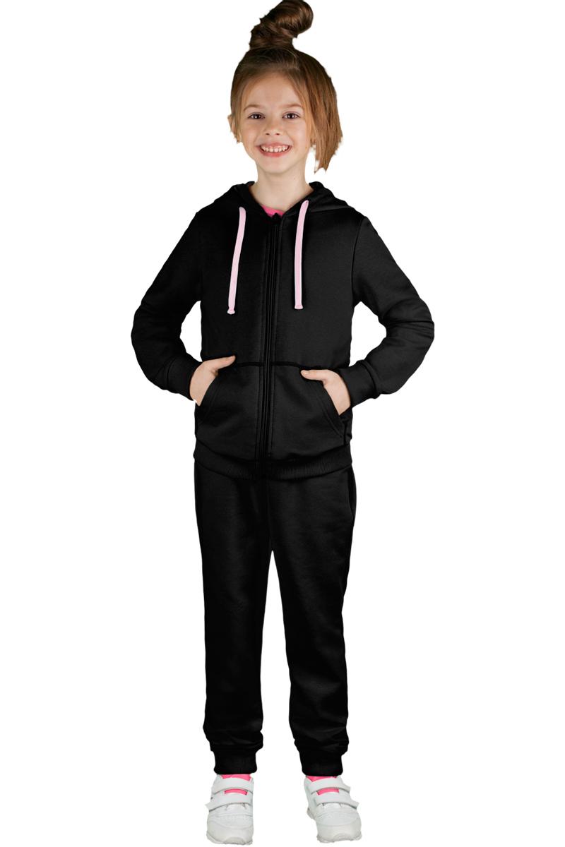 Спортивный костюм для девочки Boom!, цвет: черный. 70805_BLG_вар.1. Размер 110/116, 5-6 лет70805_BLG_вар.1Спортивный костюм для девочки Boom! выполнен из хлопка с добавлением полиэстера и лайкры. Костюм состоит из брюк и толстовки на молнии. Толстовка имеет длинные рукава, капюшон со шнурком для регулировки объема и два кармана. Брюки снабжены резинкой на талии и боковыми карманами. Удобный и практичный спортивный костюм отлично подходит для занятий физкультурой и прогулок на свежем воздухе.