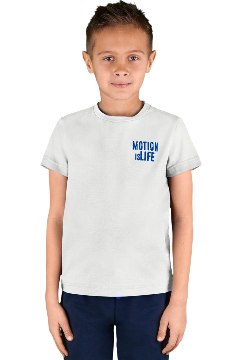 Футболка для мальчика Boom!, цвет: белый. 70807_BLB_вар.1. Размер 98/104, 3-4 года70807_BLB_вар.1Футболка для мальчика Boom! выполнена из 100% натурального хлопка. Модель имеет круглый вырез горловины и короткие стандартные рукава. Слева на груди футболка дополнена надписью Motion is life. Удобная базовая модель на каждый день.