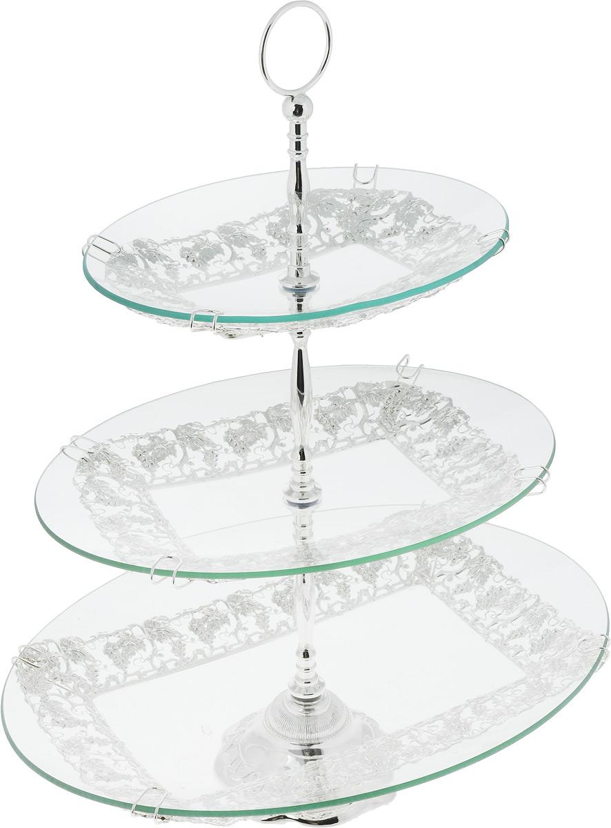 Фруктовница Marquis, 3-ярусная, высота 51 см4034-MRФруктовница Marquis, выполненная из стекла, сочетает в себе стильный дизайн с максимальной функциональностью. Изделие состоит из 3 овальных блюд разного размера. Стойка-держатель выполнена из стали с серебряно-никелевым покрытием. Фруктовница предназначена для красивой сервировки конфет, фруктов и десертов. Она украсит сервировку вашего стола и подчеркнет прекрасный вкус хозяйки, а также станет отличным подарком. Размер большого блюда: 40 см х 31 см. Размер среднего блюда: 33 см х 23 см.Размер малого блюда: 26 см х 20 см.Высота вазы: 51 см.