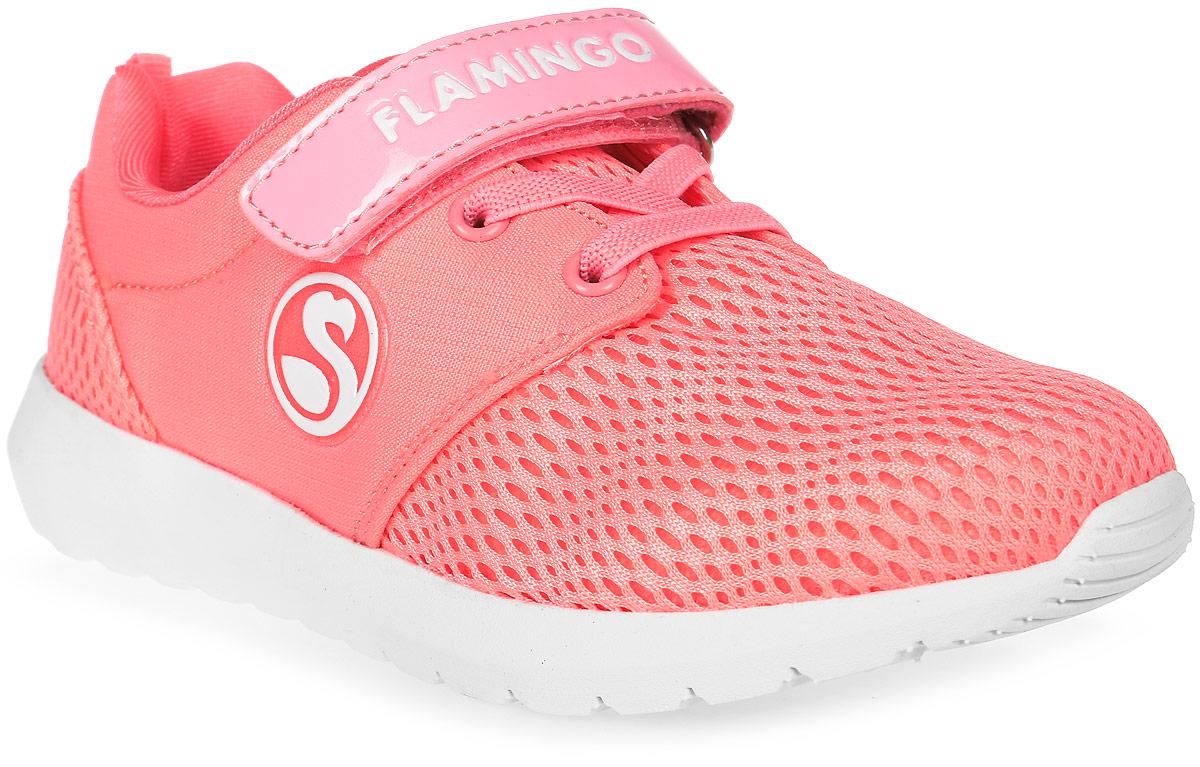 Кроссовки для девочки Flamingo, цвет: кораллово-розовый. 71K-NQ-0025. Размер 2971K-NQ-0025Модные кроссовки для девочки от Flamingo выполнены из сетчатого текстиля и искусственной кожи. Подкладка из текстиля не натирает. Стелька из натуральной кожи комфортна при движении. Ремешок с застежкой-липучкой и эластичная шнуровка надежно зафиксируют модель на ноге. Подошва дополнена рифлением.
