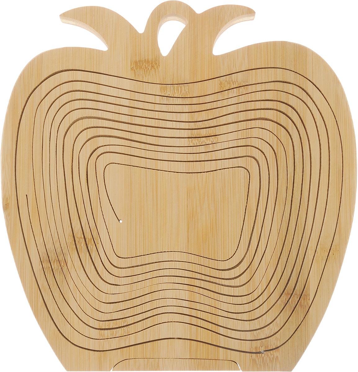 """Доска-трансформер Vetta """"Яблоко"""" изготовлена из высококачественного бамбука. Ее можно  использовать как доску для нарезки, как подставку под горячее, и как фруктовницу.  Оригинальный дизайн доски-трансформер украсит интерьер вашей кухни. Доска-трансформер Vetta """"Яблоко"""" станет отличным подарком для ваших друзей и близких.    Размер доски-трансформер (в виде доски): 27 х 30 х 1,5 см. Размер доски-трансформер (в виде фруктовницы): 27 х 30 х 21 см"""