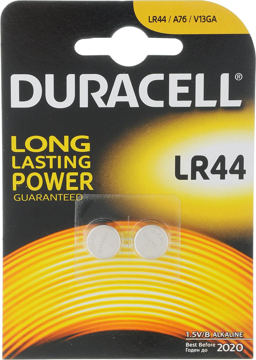 Батарейка алкалиновая Duracell, тип LR44, 2 шт81488664Щелочные (алкалиновые) батарейки Duracell оптимально подходят для повседневного питания множества современных бытовых приборов: автосигнализаций, электронных игрушек, фонарей, беспроводной компьютерной периферии и многого другого. Не содержат кадмия и ртути. Батарейки созданы для устройств со средним и высоким потреблением энергии. Работают в 10 раз дольше, чем обычные солевые элементы питания.Размер батарейки: 1,1 х 1,1 х 0,5 см.