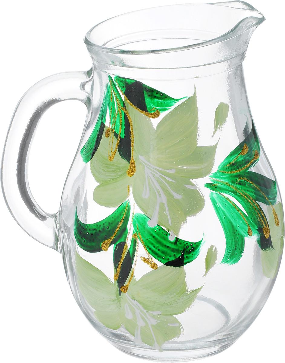 Кувшин Хрустальный звон Бистро, цвет: салатовый, 500 мл1193706_салатовые цветыКувшин Хрустальный звон Бистро выполнен из высококачественного стекла и украшен нежным аквареливым рисунком. В нем будет удобно хранить и подавать на стол молоко, соки или воду.Такой кувшин украсит любой кухонный интерьер и станет хорошим подарком для ваших близких. С такой посудой и кухонной утварью приготовление еды и сервировка стола превратятся в настоящий праздник. Обращаем ваше внимание, что роспись на изделие сделана вручную. Рисунок может немного отличаться от изображения на фотографии. Диаметр дна: 6 см.Диаметр горлышка: 7 см. Высота: 15 см.
