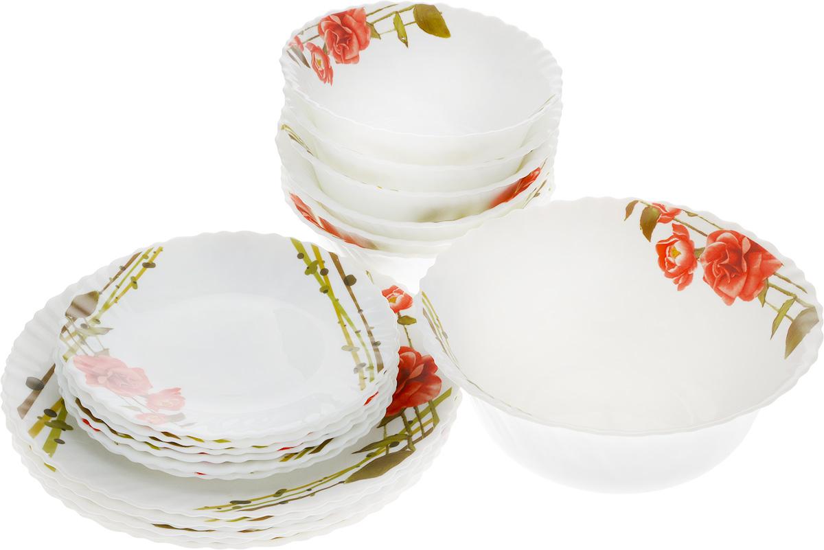 """Столовый набор """"Mayer & Boch"""" состоит из шести суповых тарелок, шести десертных тарелок,  шести обеденных тарелок и одного  салатника. Предметы набора выполнены из стекла, благодаря чему посуда будет использоваться  очень долго, при этом сохраняя свой  внешний вид. Набор создаст отличное настроение во время обеда, будет уместен на любой кухне  и понравится каждой хозяйке.  Красочное оформление предметов набора придает ему оригинальность и торжественность.  Практичный и современный дизайн делает набор довольно простым и удобным в эксплуатации.  Предметы набора можно мыть в посудомоечной машине, использовать в микроволновой печи и  холодильнике. Диаметр суповой тарелки: 17,8 см. Высота суповой тарелки: 7 см. Диаметр обеденной тарелки: 25,4 см. Высота обеденной тарелки: 2,5 см. Диаметр десертной тарелки: 19 см. Высота десертной тарелки: 2,5 см. Диаметр салатника: 22,9 см. Высота салатника: 9 см."""