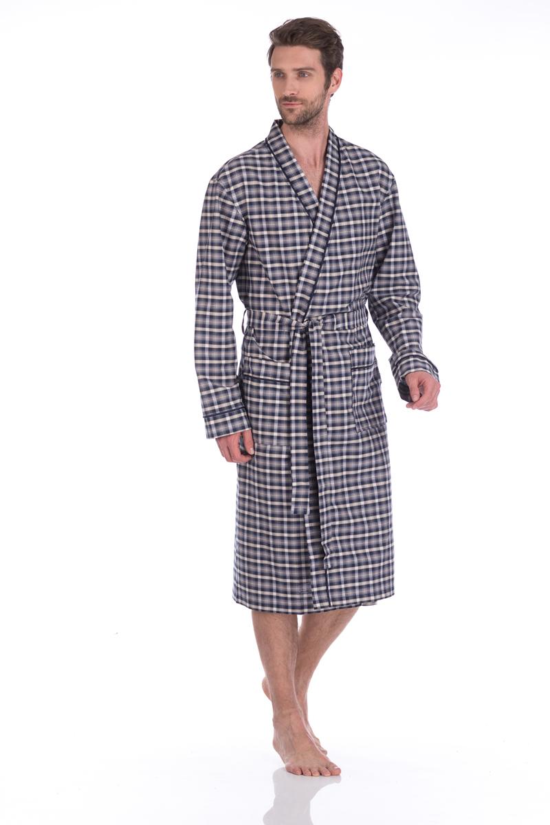 Халат мужской Peche Monnaie, цвет: белый, синий, серый. 31. Размер XXL (54/56) платье домашнее peche monnaie цвет салатовый 219 размер xxl 52