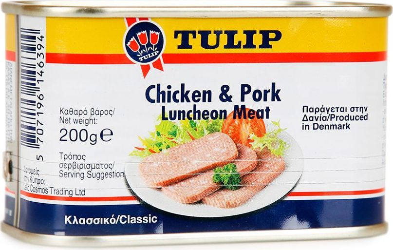 Tulip Мясо к завтраку из курицы и свинины, 200 г634360Мясной деликатес, приготовленный по классическому датскому рецепту из отборной свинины и нежного куриного филе. Мясо консервируют уникальным способом, который позволяет сохранить его нежную и мягкую текстуру, увеличивая срок годности продукта. В производстве используется отборное сырье высшего качества. Удобно открывающаяся упаковка.