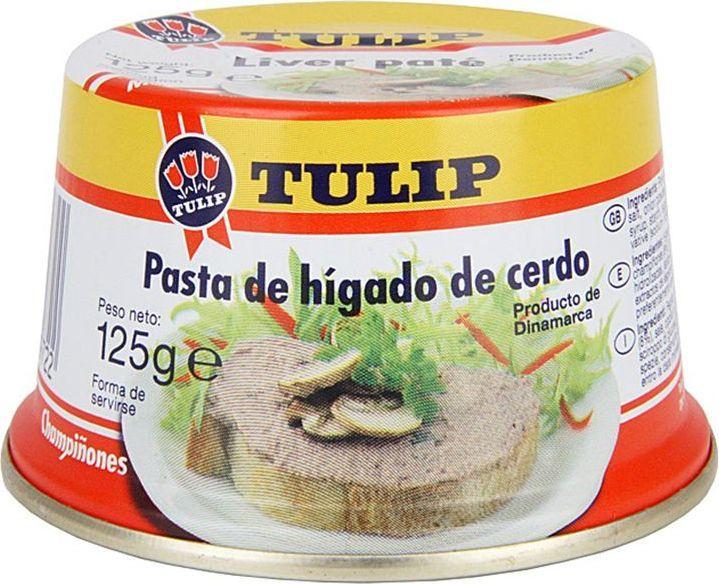 Tulip Паштет с грибами, 120 г77219Печеночные паштеты в жести удобны для любого случая, они хороши во время завтрака, на пикнике или на праздничном столе. Имеют удобную легко открывающуюся крышку с язычком. Благодаря своей конической форме она хорошо запоминается покупателям и позволяет сэкономить место на прилавке супермаркета. Паштеты приготовлены из отборной свиной печени, имеют нежную консистенцию. Все виды печеночных паштетов упаковываются в банки с легко открывающимися крышками. Внутренняя часть банки покрывается специальным защитным составом, так называемым пищевым лаком, благодаря которому мясо не соприкасается с металлом, а продукт после вскрытия баночки имеет свежий и натуральный вкус, а не запах жестянки.