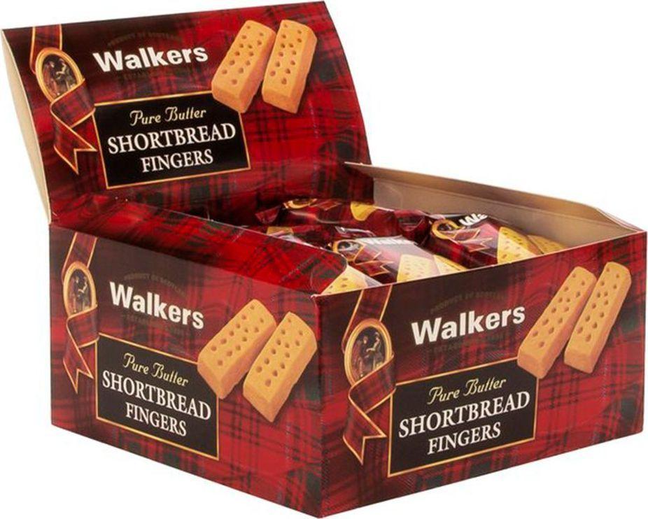 Walkers песочное печенье Пальчики в дисплее, 24 шт по 40 г0120710Песочное печенье Пальчики, пожалуй, самый популярный продукт бренда Walkers. Печенье создано по семейному рецепту, которому уже более 100 лет. Благодаря ему печенье имеет невероятный сливочный вкус и мягкую структуру, которая крошится. Пищевая ценность на 100 г продукта: белки 5,6 г, жиры 30,3 г, углеводы 58,4 г.