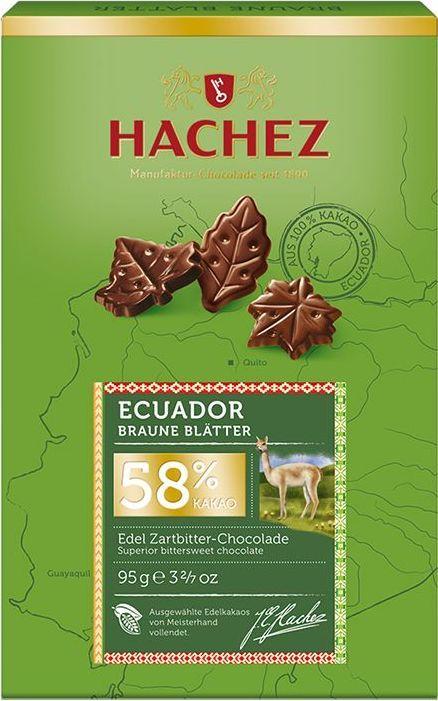 Hachez шоколадные лепестки из какао сорта Эквадор 58%, 95 гК00759Сегодня это особенное печенье продолжает очаровывать и удивлять людей не менее чем в 50 странах мира. Белки: 5 г, углеводы: 43 г, жиры: 43 г.