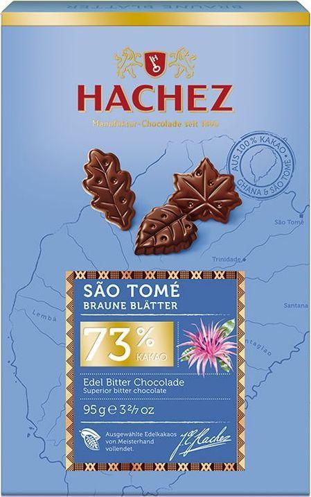 Hachez шоколадные лепестки из какао сорта Сан-Томе 73%, 95 гК00766Шоколадные лепестки из коллекции премиального шоколада, созданного из уникального сорта какао бобов Сан-Томе. Белки: 10 г, углеводы: 28 г, жиры: 44 г.