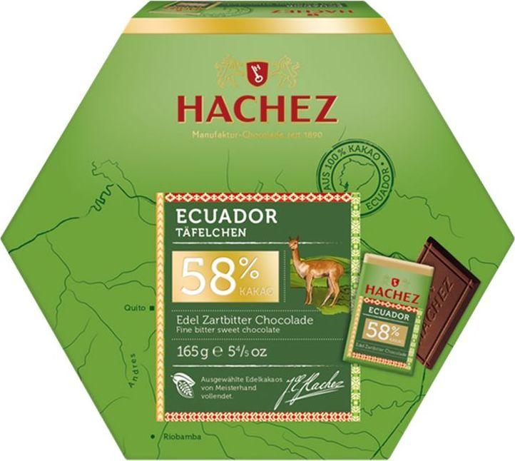 Hachez набор конфет Эквадор 58%, 165 гК13032Набор конфет Эквадор 58% - коллекция премиального шоколада, созданного из уникального сорта какао бобов. Белки - 7 г, углеводы - 37 г, жиры - 45 г.