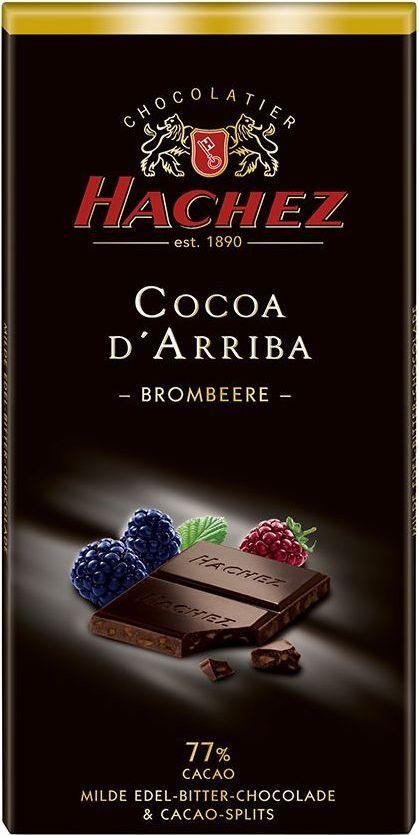 Hachez шоколадная плитка с ежевикой 77%, 100 гК21426Шоколадная плитка с ежевикой - терпкий и нежный вкус шоколада с содержанием какао 77%, намного нежнее по сравнению с другими плитками - представителями сегмента горького шоколада, с добавление компонентов - кусочки ягод ежевики.