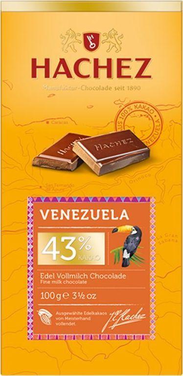 Hachez шоколадная плитка из какао сорта Венесуэла 43%, 100 гК22775Шоколадная плитка из какао сорта Венесуэла, 43% - коллекция премиального шоколада, созданного из уникального сорта какао бобов. Белки: 9 г, углеводы: 41 г, жиры: 42 г.