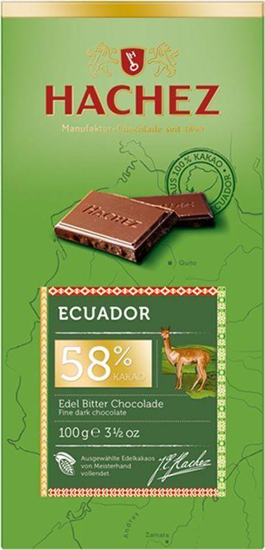 Hachez шоколадная плитка из какао сорта Эквадор 58%, 100 гК22782Шоколадная плитка из какао сорта Эквадор, 58% - коллекция премиального шоколада, созданного из уникального сорта какао бобов. Белки - 6 г, углеводы - 44 г, жиры - 41 г.