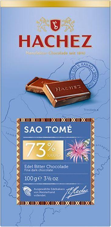 Hachez шоколадная плитка из какао сорта Сан-Томе 73%, 100 гК22799Шоколадная плитка из какао сорта Сан-Томе, 73% - коллекция премиального шоколада, созданного из уникального сорта какао бобов. Белки - 10 г, углеводы - 29 г, жиры - 42 г.