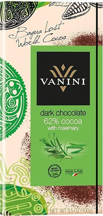 Icam Vanini шоколад с розмарином горький 62% какао, 100 гК7253Горький шоколад Ванини с розмарином с содержанием 62% какао - это гастрономический шоколад из Италии.