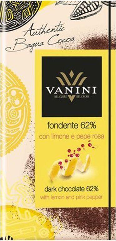 Icam Vanini шоколад с лимонной цедрой и розовым перцем горький 62% какао, 100 гК7273Горький шоколад Ванини с лимонной цедрой и розовым перцем с содержанием 62% какао - это гастрономический шоколад из Италии.
