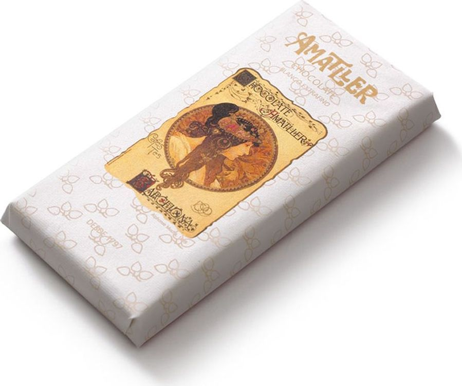 Amatller шоколад белый, 85 гК7573Чем выше процентное содержание какао-продуктов в шоколаде, тем он полезнее. Ведь в них содержатся соединения, благотворно влияющие на наш организм. Они регулируют кровяное давление, успокаивая нервы, также являясь мощными антиоксидантами.
