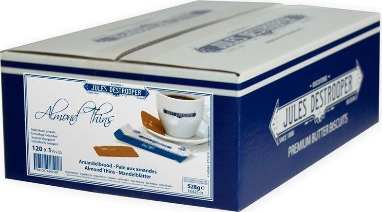 Destrooper печенье с кусочками миндаля в индивидуальной упаковке 120 шт, 528 гК90314Приготовлено по старинной рецептуре. В производстве используется миндаль с деревьев, старше 25 лет, расположенных в Валенсии (регион Испании).