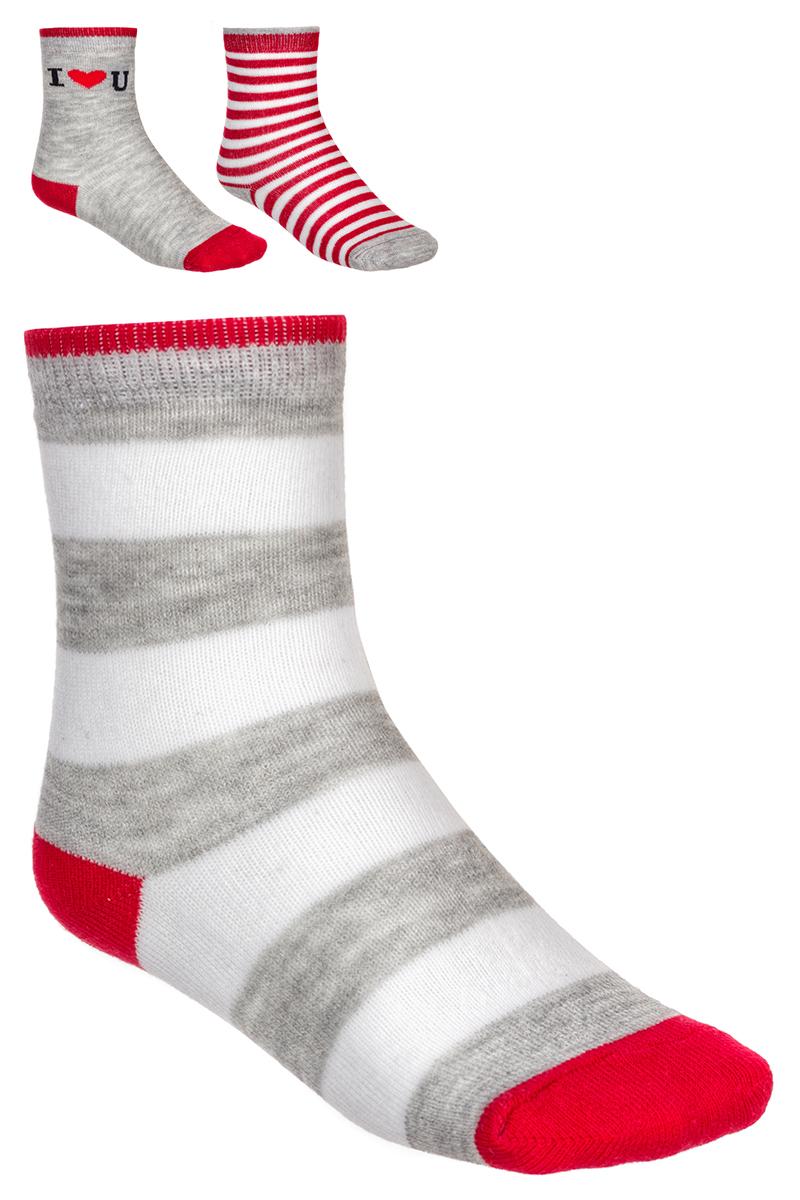 Носки детские Baykar, цвет: серый, белый, красный, 3 пары. 163512-20. Размер 14,5/16, 3 года163512-20Детские носки Baykar изготовлены из высококачественного эластичного хлопка с добавлением полиамида. Носки имеют эластичную резинку, которая надежно фиксирует носки на ноге. В комплект входит 3 пары носков.