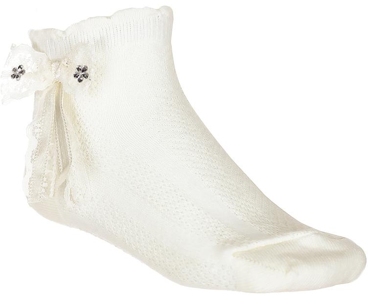 Носки для девочки Baykar, цвет: молочный, 2 пары. 200313-17. Размер 8,5/10, 0-6 месяцев200313-17Носки для девочки Baykar выполнены из высококачественного эластичного хлопка с добавлением полиамида, мягкого и нежного на ощупь. Эластичная резинка в паголенке плотно облегает ногу, не сдавливая ее, обеспечивая комфорт и удобство. Носки дополнены бантиком со стразами. В комплект входит 2 пары.