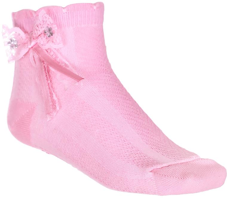 Носки для девочки Baykar, цвет: розовый, 2 пары. 200313-5. Размер 8,5/10, 0-6 месяцев200313-5Носки для девочки Baykar выполнены из высококачественного эластичного хлопка с добавлением полиамида, мягкого и нежного на ощупь. Эластичная резинка в паголенке плотно облегает ногу, не сдавливая ее, обеспечивая комфорт и удобство. Носки дополнены бантиком со стразами. В комплект входит 2 пары.