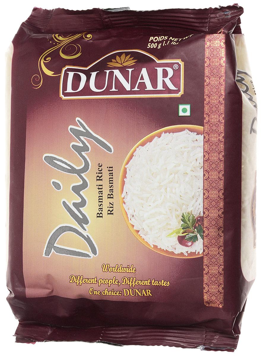 Dunar Daily басмати рис, 500 гDDi1Рис басмати от Dunar Daily имеет зёрна молочного цвета. Он является частично пропаренным, а его выдержка составляет 2 года. Длина риса в приготовленном виде 16,30 мм.
