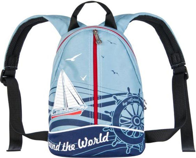 Grizzly Рюкзак дошкольный цвет синий RS-734-9/1RS-734-9/1Небольшой детский рюкзак Grizzly - это красивый и удобный рюкзак, который непременно понравится вашему малышу.Рюкзак выполнен из плотного материала и оформлен оригинальным принтом c изображением парусника. br>Рюкзак имеет одно основное отделение, закрывающееся на застежки-молнии с двумя бегунками, а также прорезной карман на застежке-молнии спереди. Рюкзак оснащен удобной текстильной ручкой для переноски в руке и подвешивания, а также дополнен светоотражающими вставками спереди и на лямках. Мягкие лямки скругленной формы регулируются по длине.Многофункциональный детский рюкзак станет незаменимым спутником вашего ребенка в походах за знаниями.