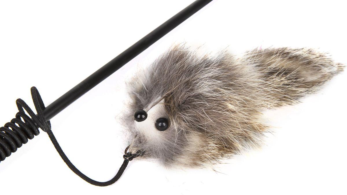 Игрушка-дразнилка для кошек GLG Котик, длина 60 см игрушка дразнилка для кошек glg страус на резинке цвет коричневый 4 см