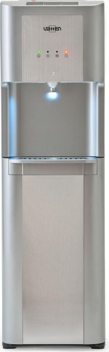 Vatten L48 SK, Silver кулер для воды3479Классический кулер Vatten L48 с нижней загрузкой бутыли. Верхняя и передние панели изготовлены из высококачественного, окрашенного пластика. По центру передних панелей имеются вставки из матированной нержавеющей стали. Боковые панели металлические. Один кран, управление разливом воды при помощи трёх кнопок (горячая, холодная и вода комнатной температуры). Баки горячей и холодной воды из нержавеющей стали. Кран горячей воды имеет защиту от детей. Четыре LED индикатора - включение питания, индикатор нагрева, индикатор охлаждения, индикатор низкого уровня воды в бутыли. Пригоден для эксплуатации в очень жарком климате - температура эксплуатации кулера от 10 до 38 градусов Цельсия.