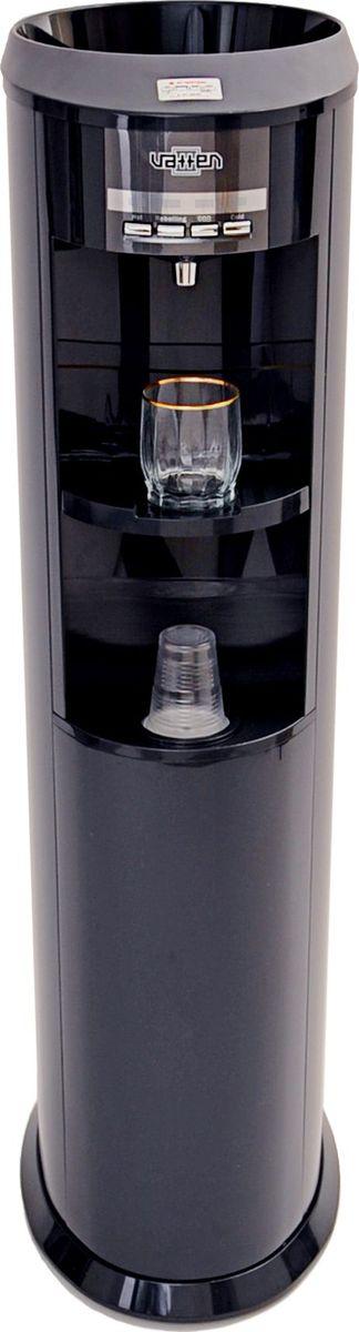 Vatten V803 NKDG кулер для воды, Black4106Изящный кулер для воды уровня VIP, изготовлен в Корее. Напольный. Компрессорный. С функцией газации воды (сатуратор). Без шкафчика. Для дома. Для офиса.Цвет корпуса черный, бутылеприёмник, а также передняя и верхняя панели изготовлены из высококачественного, устойчивого к ультрафиолету ABS пластика, боковые панели металлические с полимерным покрытием.Один кран, управление кнопками. Подсветка зоны раздачи воды (ЛАМПА НАСТРОЕНИЯ). Раздача горячей, холодной, холодной газированной воды. Использует одноразовые баллоны с газом (одного баллона достаточно для приготовления до 120 л газированной воды). Функция Reboiling для экcпресс-нагрева горячей воды до 95 С. Функция защита от детей. Встроенный подстаканник. Четыре LED индикатора (индикатор нагрева, индикатор охлаждения, индикатор готовности системы газирования, индикатор включения фукции Reboiling).Баки горячей и холодной воды из нержавеющей стали. Высокая энергоэффективность. Климатический класс SN (температура эксплуатации кулера от 10 до 32 градусов Цельсия).