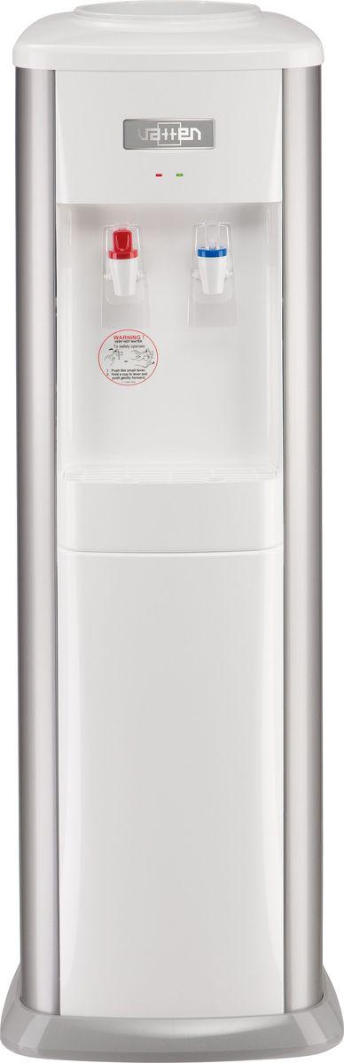 Vatten V21SK, Silver кулер для воды3529Классический напольный кулер для воды VATTEN V21SK с верхней загрузкой имеет мощность нагрева 440 Вт, мощность охлаждения 105 Вт. Производительность охлаждения - 2,7 л/час, производительность нагрева - 7 л/час.Компрессорный тип охлаждения, push краны подачи воды для бутылки, а также имеется индикатор нагрева.