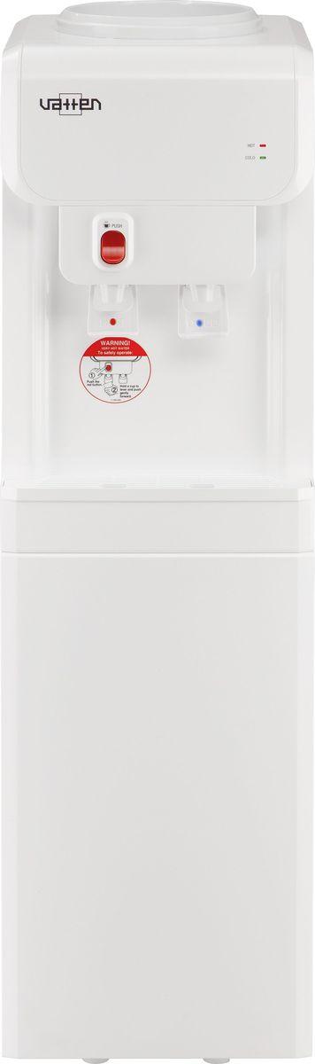 Vatten V19WK, White кулер для воды3532Классический напольный кулер для воды VATTEN V19WK с верхней загрузкой имеет мощность нагрева 440 Вт, мощность охлаждения 105 Вт. Производительность охлаждения - 2,7 л/час, производительность нагрева - 7 л/час.Компрессорный тип охлаждения, push краны подачи воды для бутылки, а также имеется индикатор нагрева.
