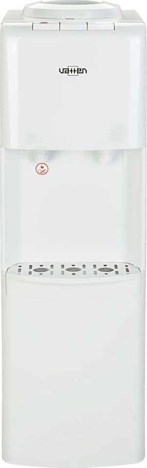 Vatten V41 WE кулер для воды, White4615Стандартный напольный кулер для воды с электронным охлаждением (плата Пельтье). Без шкафчика. Современный дизайн. Для дома. Для офиса. Цвет корпуса белый, все панели изготовлены из качественного, устойчивого к ультрафиолету пластика. Два крана, управление кнопками - горячая и холодная вода. Кран горячей воды имеет защиту от детей. Пригоден для эксплуатации в очень жарком климате - температура эксплуатации кулера от 10 до 38 градусов Цельсия.
