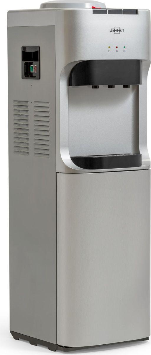 Vatten V45SК кулер для воды, Silver4925Напольный кулер для воды. С компрессорным охлаждением и с высокой производительностью нагрева воды - до 6 литров в час (мощность водонагревателя 650 Вт). Без шкафчика. Высота стандартная - 928 мм. Для дома. Для офиса.Три крана, управление кнопками - горячая, холодная и вода комнатной температуры.Цвет корпуса серебро. Бутылеприёмник, верхняя и передняя панели изготовлены из высококачественного, устойчивого к ультрафиолету ABS пластика. Боковые панели стальные.Баки горячей и холодной воды из нержавеющей стали. Три LED индикатора (включение питания, индикатор нагрева, индикатор охлаждения).