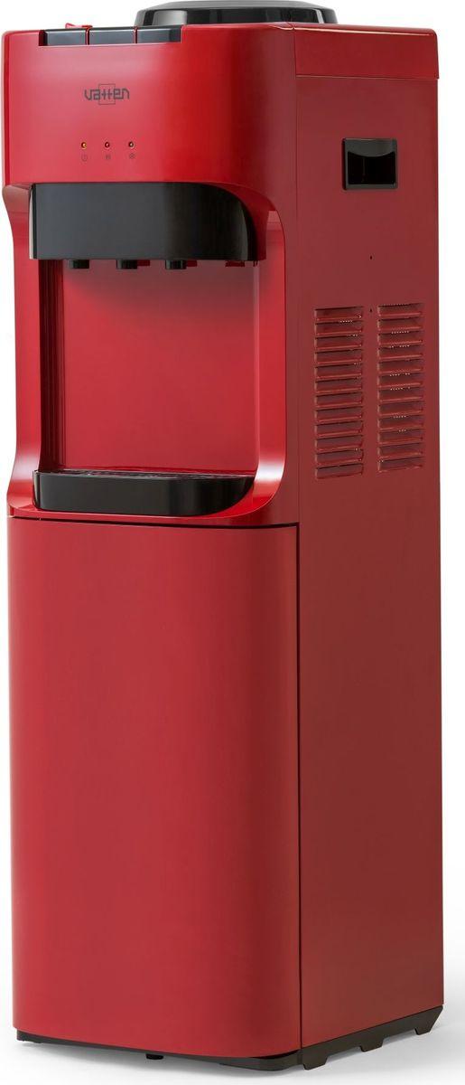 Vatten V45RE кулер для воды, Red5020Напольный кулер для воды без шкафчика, без холодильника. Кулер для дома и офиса. Электронное охлаждение (0,6 л/ч) + нагрев воды (6 л/ч). Цвет красный.Три крана с кнопками. Подходит для домашнего и офисного использования, на предприятиях и учреждениях.Цвет корпуса красный. Бутылеприёмник, верхняя и передняя панели изготовлены из высококачественного, устойчивого к ультрафиолету ABS пластика. Боковые панели стальные.Баки горячей и холодной воды из нержавеющей стали. Три LED индикатора (включение питания, индикатор нагрева, индикатор охлаждения).