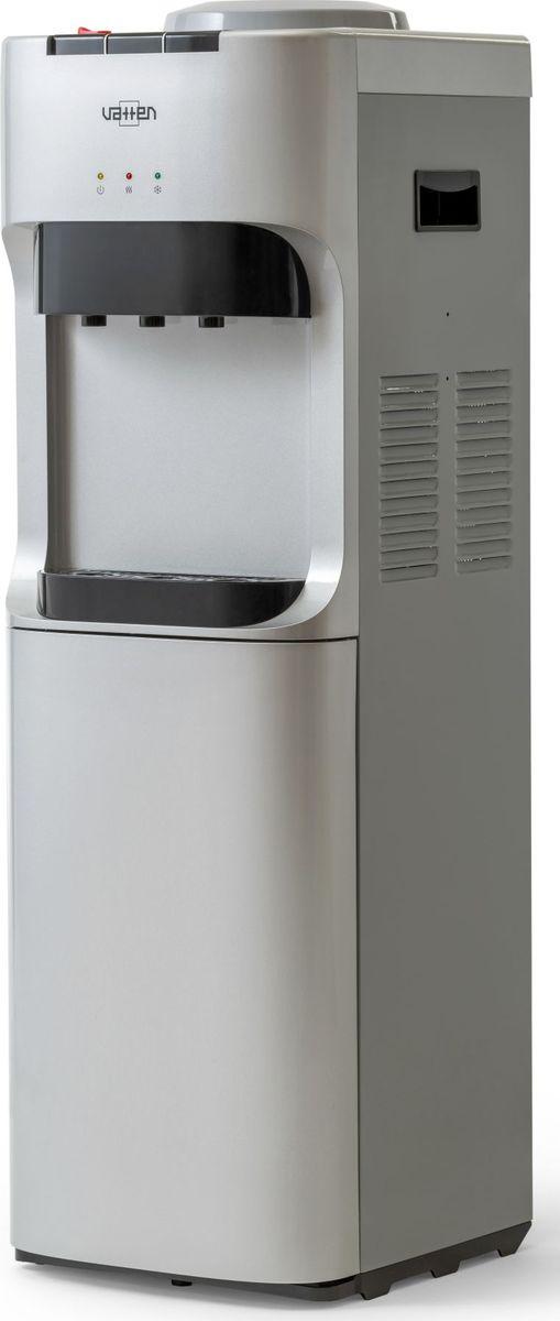 Vatten V45SE кулер для воды, Silver5019Напольный кулер для воды без шкафчика, без холодильника. Кулер для дома и офиса. Электронное охлаждение (0,6 л/ч) + нагрев воды (6 л/ч). Три крана с кнопками. Подходит для домашнего и офисного использования, на предприятиях и учреждениях.Бутылеприёмник, верхняя и передняя панели изготовлены из высококачественного, устойчивого к ультрафиолету ABS пластика. Боковые панели стальные.Баки горячей и холодной воды из нержавеющей стали. Три LED индикатора (включение питания, индикатор нагрева, индикатор охлаждения).