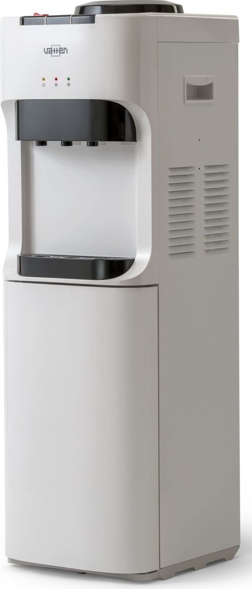 Vatten V45WE кулер для воды, White5088Напольный кулер для воды без шкафчика, без холодильника. Кулер для дома и офиса. Электронное охлаждение (0,6 л/ч) + нагрев воды (6 л/ч). Цвет белый. Три крана с кнопками. Подходит для домашнего и офисного использования, на предприятиях и учреждениях.Бутылеприёмник, верхняя и передняя панели изготовлены из высококачественного, устойчивого к ультрафиолету ABS пластика. Боковые панели стальные.Баки горячей и холодной воды из нержавеющей стали. Три LED индикатора (включение питания, индикатор нагрева, индикатор охлаждения).