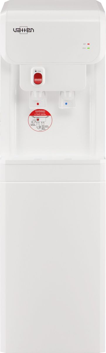 Vatten ОV19WK пурифайер, White4903Напольный диспенсер модели VATTEN OV19WK + EVERPURE, произведённый в Южной Корее, оснащён фильтрами для проточной воды EVERPURE производства американской компании PENTAIR. Современный дизайн. Цвет корпуса белый. Передняя и верхняя панели изготовлены из высококачественного, устойчивого к ультрафиолету ABS пластика белого цвета, боковые панели металлические с полимерным покрытием. Два крана пуш, т.е. нажим кружкой. Кран горячей воды имеет защиту от детей. Баки горячей и холодной воды из нержавеющей стали. Повышенная производительность нагрева и охлаждения (6,5 и 3,2 л/ч соответственно). Два LED индикатора (индикатор нагрева, индикатор охлаждения). Климатический класс SN (температура эксплуатации кулера от 10 до 32 градусов Цельсия).Фильтр состоит из головной части и всего одного сменного картриджа, который осуществляет комплексную очистку воды - ознакомиться с результатами лабораторных испытаний применяемых фильтров. Замена картриджей осуществляется просто, быстро и чисто. Внутренние детали фильтра никогда не подвергаются загрязнению. Уникальный фильтр использует активированный уголь, изготовленный из кокосовой скорлупы. Фильтр обладает большой поверхностью фильтрации для удаления хлора и его соединений, тяжелых металлов, пестицидов, органики, мутности, неприятного запаха или привкуса. Субмикронная технология микрофильтрации не пропускает через натуральные волокна фильтра загрязняющие частицы размером до 0,5 микрон обеспечивая этим кристальную прозрачность и бактериальную очистку воды. Фильтр имеет Свидетельство о государственной регистрации Таможенного Союза, а также сертифицирован по самым строгим стандартам U.S. NSF. Замена картриджа фильтра производится после фильтрации 2835 литров воды (что эквивалентно покупке 149 девятнадцатилитровых бутылей воды) но не реже 1 раза в год (в зависимости что наступит раньше).