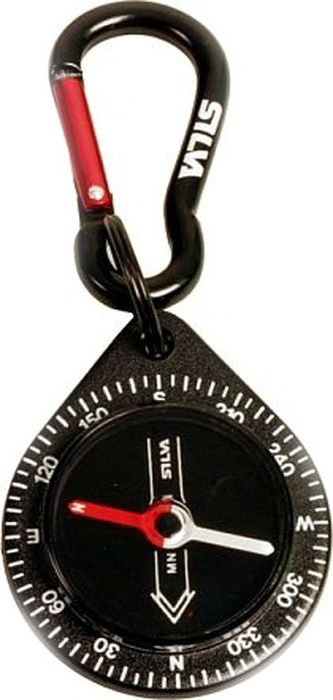 Компас Silva Compass 9 Black Carabiner, цвет: черный36692Удобный маленький компас со встроенным карабином.