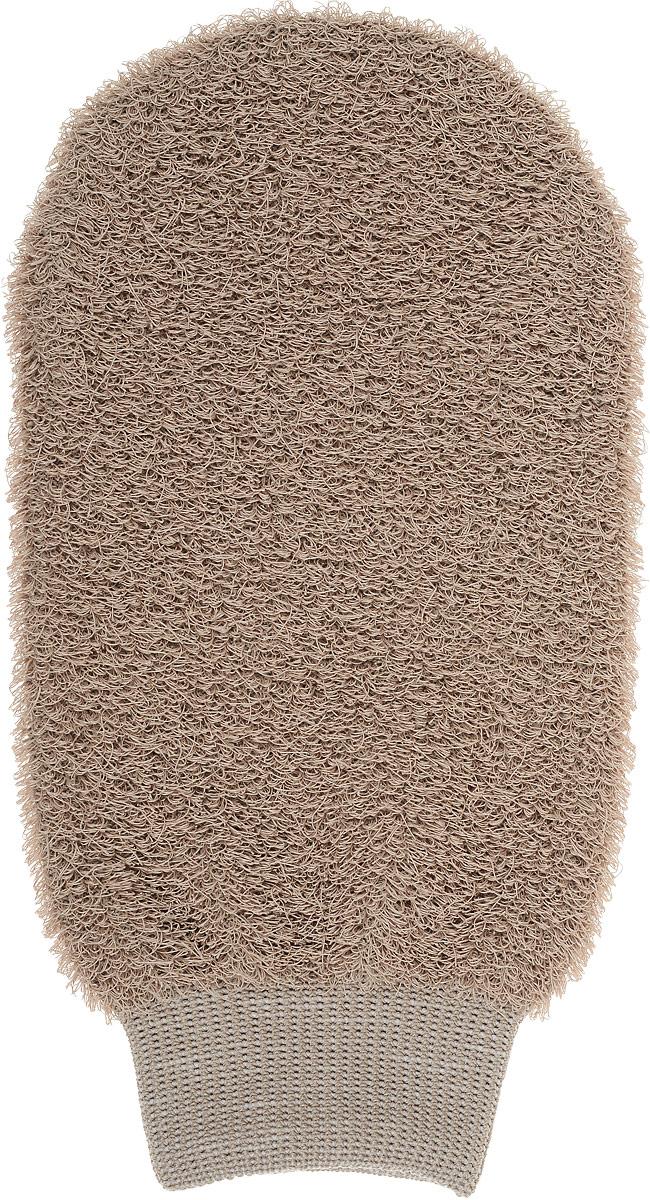 Мочалка-рукавица Riffi, жесткая, цвет: светло-коричневый мочалка варежка массажная riffi вязаная 190