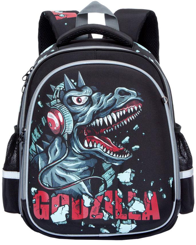 Grizzly Ранец школьный GodzillaRA-778-7/1Школьный ранец Grizzly Godzilla - это красивый и удобный ранец, который подойдет всем, кто хочет разнообразить свои школьные будни. Ранец выполнен из плотного нейлона с покрытием из водонепроницаемого материала и оформлен оригинальным изображением в виде динозавра.Ранец имеет два основных вместительных отделения на застежках-молниях. В первом отделении расположены две мягкие перегородки для тетрадей и учебников. Во втором отделении имеются один сетчатый карман - открытый и на молнии, карман под клапаном с липучкой под мобильный телефон, четыре кармашка под канцелярские принадлежности и лента с карабином для ключей.На лицевой стороне ранец оснащен металлической петлей для подвешивания брелоков. Ранец имеет удобную ручку для переноски.Широкие регулируемые лямки и сетчатые мягкие вставки на спинке ранца предохранят мышцы спины ребенка от перенапряжения при длительном ношении. Высота посадки лямок может регулироваться благодаря специальным приспособлениям на спинке ранца.Ранец имеет легкую и устойчивую конструкцию.Многофункциональный школьный ранец станет незаменимым спутником вашего ребенка в походах за знаниями.
