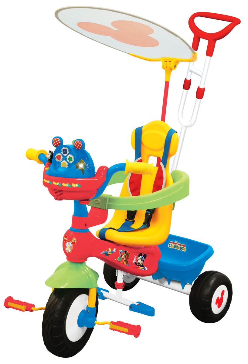 Kiddieland Велосипед трехколесный Микки Маус цвет желтыйKID 047464Велосипед трехколесный Микки Маус - замечательный детский велосипед. Такой велосипед обязательно понравится вашему ребенку. С таким велосипедом не будет скучно на прогулке. Подойдет для детей от 1 года.Характеристики:• Велосипед выполнен из высококачественных материалов.• Рама и ручка велосипеда металлические.• Козырек текстильный.• У велосипеда есть родительская ручка, которая управляет передним колесом.• Есть специальный барьер и фиксирующие ремешки для безопасности ребенка.• Удобное сидение с высокой спинкой.• Есть подножка, если ребенок не хочет крутить педали.• Педали можно заблокировать.• Сзади есть корзинка для игрушек.• 3 устойчивых колеса, которые сделаны из пластика.• У велосипеда яркая красивая расцветка.• На руле есть подставка для бутылочки.• Надежная конструкция прослужит долгие годы.Какой велосипед выбрать? Статья OZON Гид