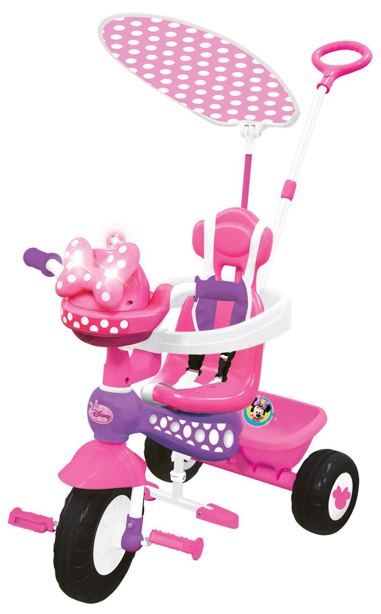 Kiddieland Велосипед трехколесный Минни Маус с ручкой цвет розовыйKID 048983Велосипед трехколесный Микки Маус - замечательный детский велосипед. Такой велосипед обязательно понравится вашему ребенку. С таким велосипедом не будет скучно на прогулке. Подойдет для детей от 1 года.Характеристики:• Велосипед выполнен из высококачественных материалов.• Рама и ручка велосипеда металлические.• Козырек текстильный.• У велосипеда есть родительская ручка, которая управляет передним колесом.• Есть специальный барьер и фиксирующие ремешки для безопасности ребенка.• Удобное сидение с высокой спинкой.• Есть подножка, если ребенок не хочет крутить педали.• Педали можно заблокировать.• Сзади есть корзинка для игрушек.• 3 устойчивых колеса, которые сделаны из пластика.• У велосипеда яркая красивая расцветка.• На руле есть подставка для бутылочки.• Надежная конструкция прослужит долгие годы.