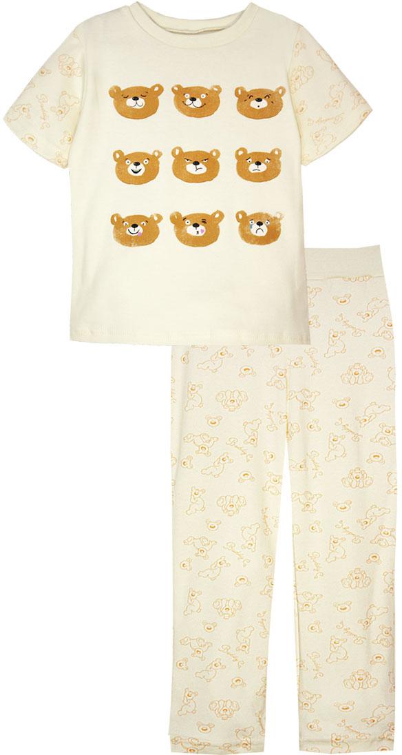 Пижама для девочки КотМарКот, цвет: светло-бежевый, оранжевый. 16224. Размер 9816224Пижама для девочки КотМарКот, состоящая из футболки и брюк, выполнена из натурального хлопка. Футболка с короткими рукавами и круглым вырезом горловины. Брюки прямого кроя имеют эластичную резинку на поясе.