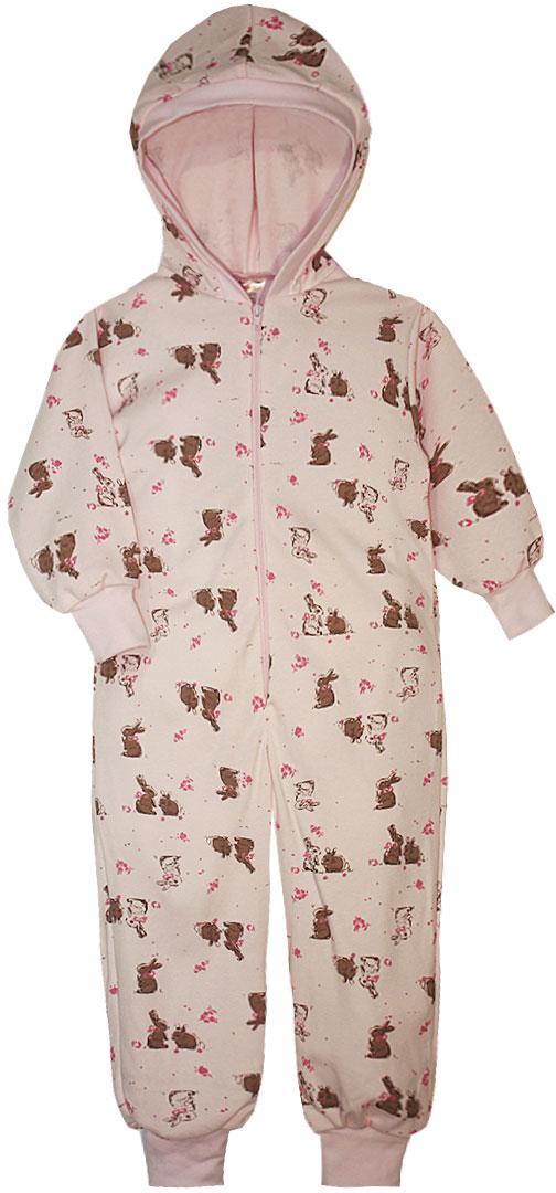 Пижама для девочки КотМарКот, цвет: розовый. 16922. Размер 110/11616922Пижама для девочки КотМарКот выполнена из натурального хлопка. Модель с капюшоном и длинными рукавами застегивается на застежку-молнию. Манжеты рукавов и низ брючин дополнены трикотажными манжетами.