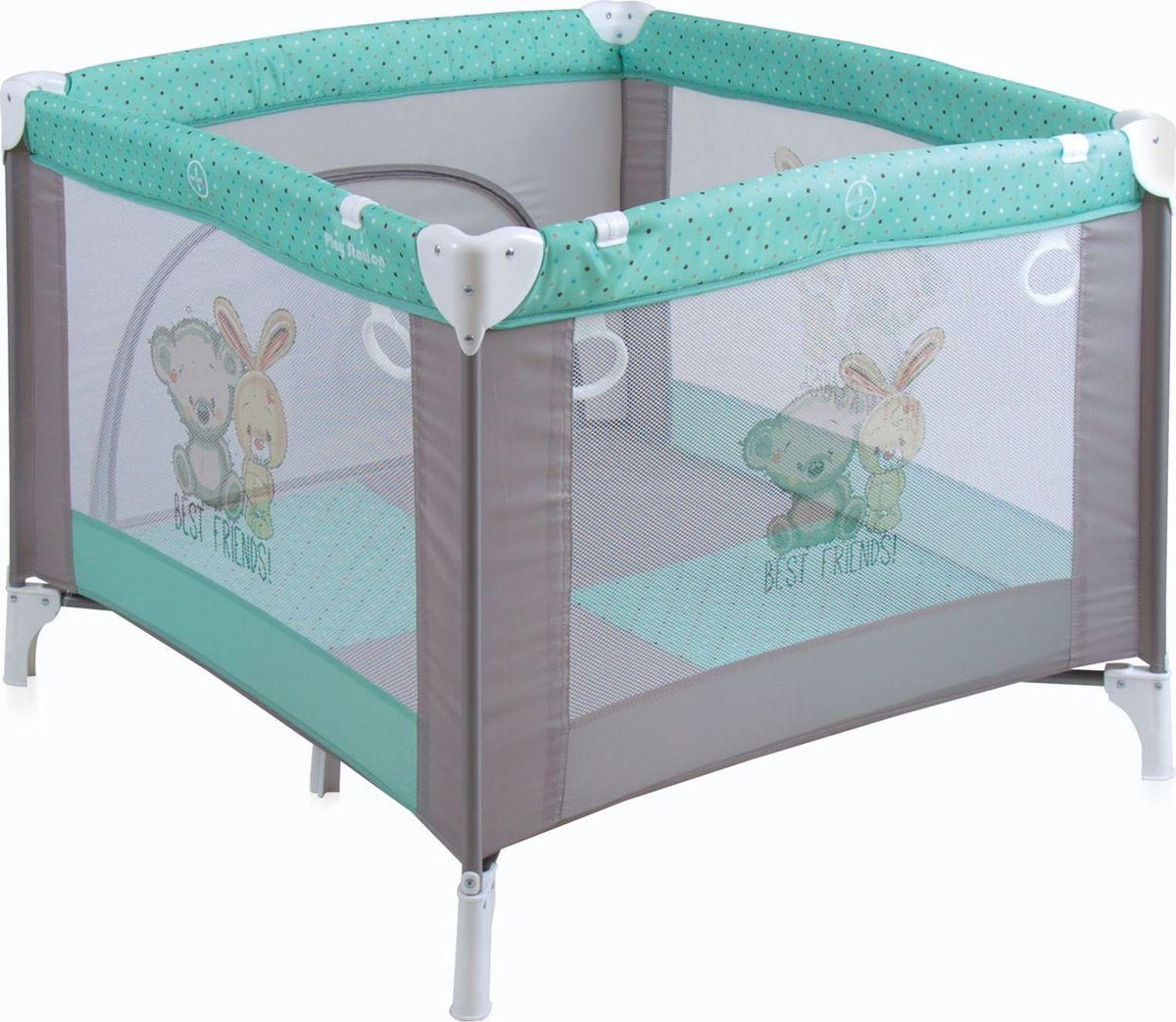 Lorelli Манеж Play Station цвет серый зеленый3800151904694Детский манеж Bertoni Play Station выполнен в современном стиле, компактен в сложенном виде. Отсутствуют острые углы, ткань приятная на ощупь.Особенности:-Квадратный просторный манеж.-Травмобезопасная конструкция.-Центральная ножка для обеспечения безопасности.-Легко складывается в компактную, удобную для переноски сумку. -Яркие, прочные, легкомоющиеся тканевые части.-Специальные кольца на боковинках для помощи малышу научиться вставать.-Сетчатые вставки в боковинах для лучшей вентиляции и обзора.-Отстегивающийся боковой лаз, чтобы малыш мог сам забираться в манеж и выбираться из него.