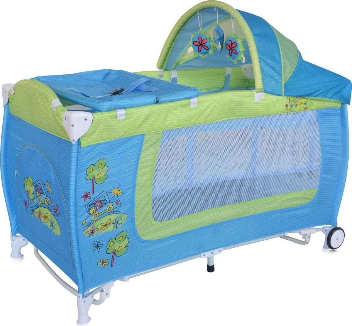 Lorelli Манеж Danny 2 Rocker цвет синий зеленый3800151960096Детский манеж-кровать для детей с рождения и до 3 лет. Верхний уровень с рождения и до 6 месяцев, в комплекте идет пеленальник с рождения и до 3 месяцев. Защитный козырек с навесными игрушками. Дуги для укачивания малыша. Надежные пластиковые крепления. Два колеса с фиксацией. Яркие расцветки, приятны для мамы и малыша. Манеж безопасен для игр и сна малыша, надежная установка и безопасность. Манеж имеет боковой лаз на молнии, легкую систему складывания и раскладывания, сумку-чехол для переноски манежа. Матрасик в комплекте на дно манежа.