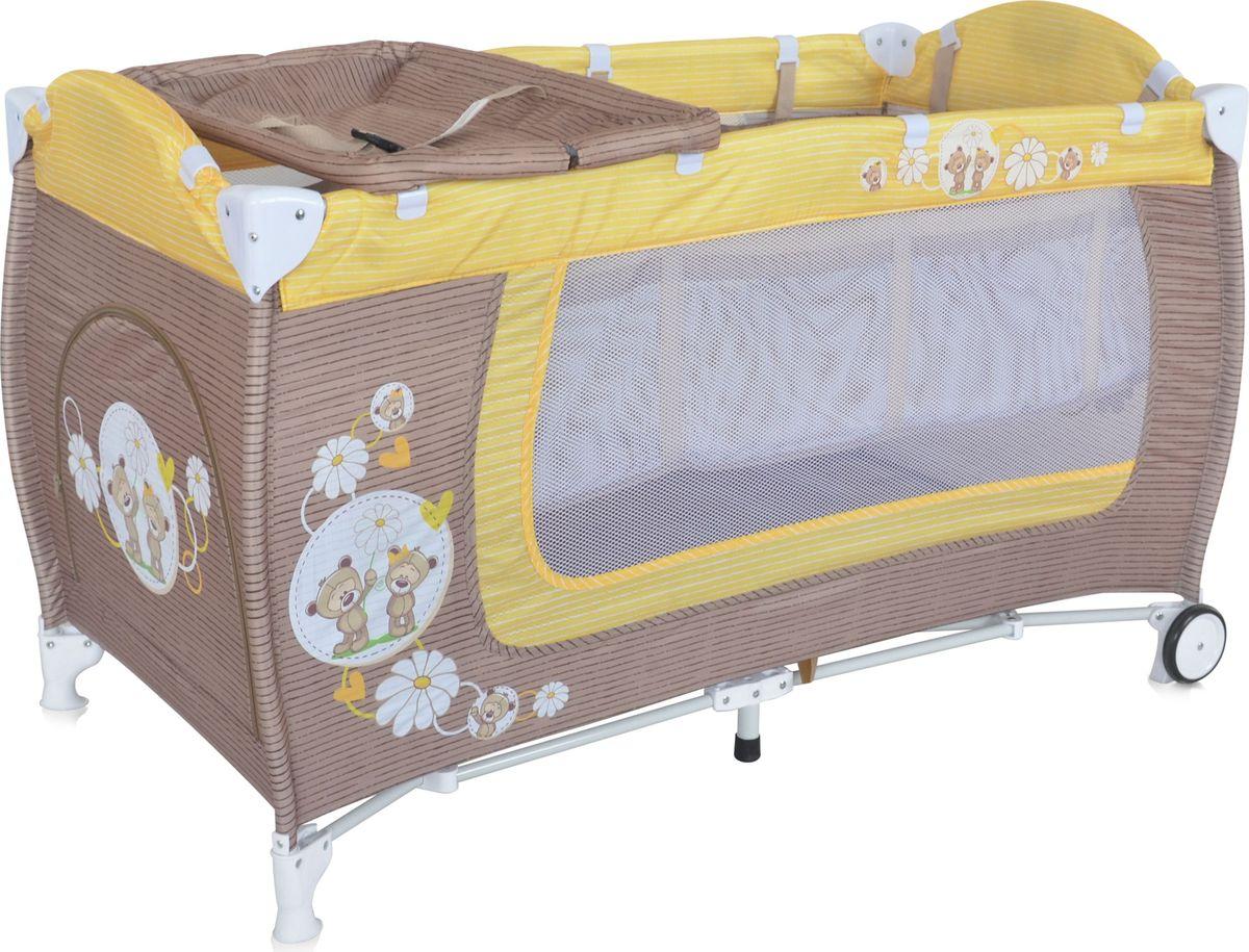 Lorelli Манеж Danny 2 цвет бежевый желтый3800151960201Детский манеж-кровать для детей с рождения и до 3 лет. Верхний уровень с рождения и до 6 месяцев, в комплекте идет пеленальник с рождения и до 3 месяцев. Надежные пластиковые крепления. Два колеса с фиксацией. Яркие расцветки, приятны для мамы и малыша. Манеж безопасен для игр и сна малыша, надежная установка и безопасность. Манеж имеет боковой лаз на молнии, легкую систему складывания и раскладывания, сумку-чехол для переноски манежа. Матрасик в комплекте на дно манежа.